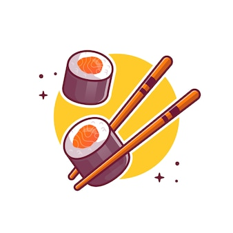 Sushi con ilustración de icono de dibujos animados de palillos. concepto de icono de comida japonesa aislado. estilo de dibujos animados plana