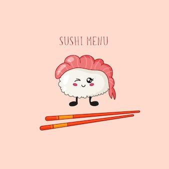 Sushi kawaii, logotipo en forma de rollo o pancarta en cocina y comida tradicional japonesa o asiática de color