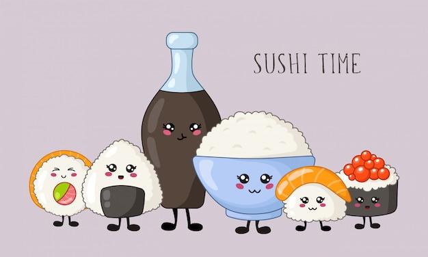 Sushi kawaii, panecillos, conjunto de sashimi, cocina y comida japonesa o asiática, emoji de dibujos animados, estilo manga