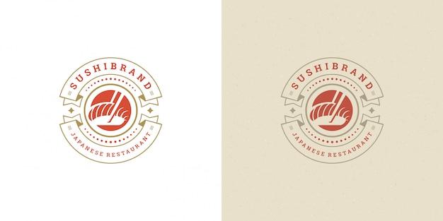 Sushi logo e insignia restaurante de comida japonesa con salmón sashimi cocina asiática ilustración vectorial