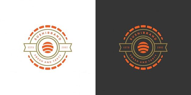Sushi logo e insignia restaurante de comida japonesa con sushi salmon roll cocina asiática ilustración vectorial