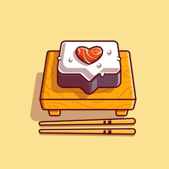 Sushi love con ilustración de icono de vector de dibujos animados de palillos. concepto de icono de comida japonesa. estilo de dibujos animados plana