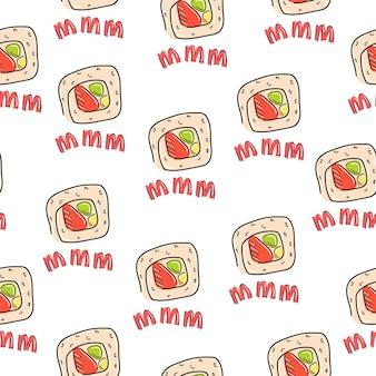 Sushi mano dibujada estilo de dibujos animados de patrones sin fisuras