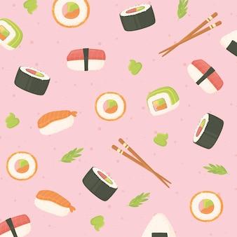 Sushi mariscos rollos palillos comida japonesa cultura fondo ilustración