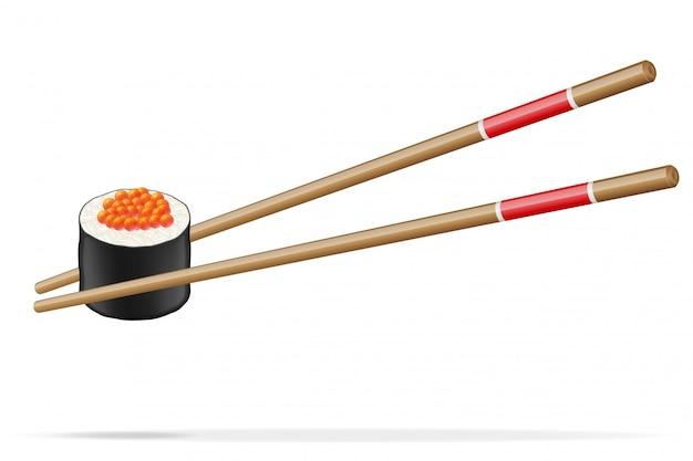 Sushi y palillos ilustración vectorial