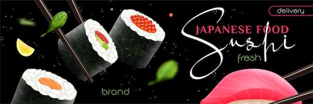 Sushi realista con ilustración de banner de entrega de comida japonesa