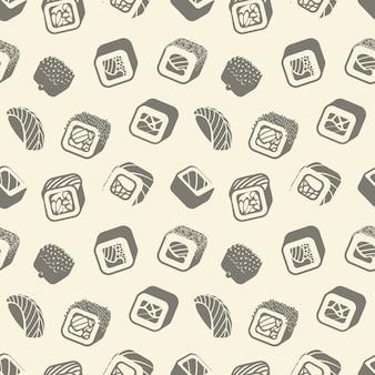 Sushi y rollos vintage de patrones sin fisuras