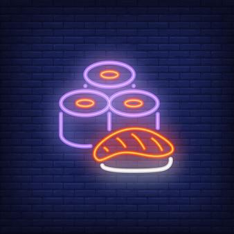 Sushi set letrero de neón