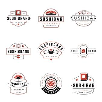 Sushi tienda de comida japonesa logotipos diseño conjunto