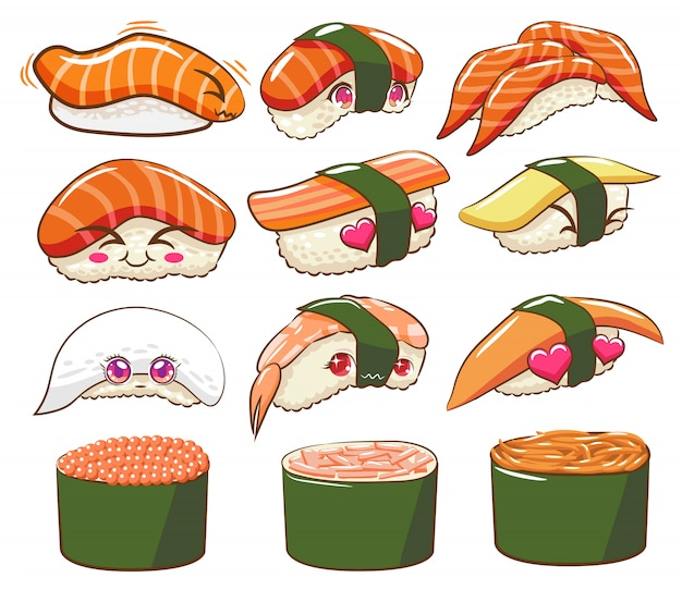 Sushi vector set clipart