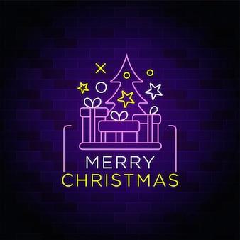 Suspiro de neón de feliz navidad con icono de árbol y caja de regalo de navidad