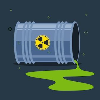 Sustancia radiactiva derramada en el suelo por un barril caído. plano