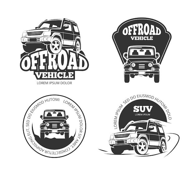 Suv recogida retro vector emblemas