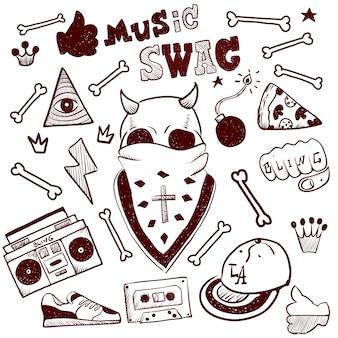 Swag de música. estilo callejero. diseño plano de ilustración moderna.