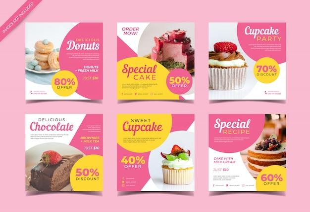 Sweet cake banner para plantilla de publicación en redes sociales