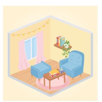Sweet home sillón reposapiés mesa con libros y taza de café