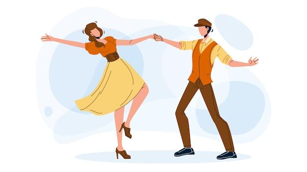 Swing dance party bailando pareja joven