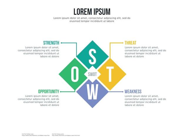 Swot crystal infographic element y plantilla de presentación