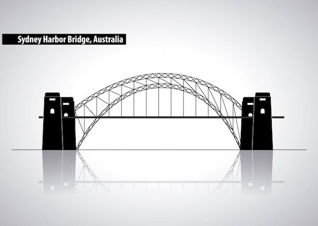 Sydney harbour bridge en australia, ilustración silueta