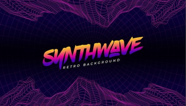 Synthwave 3d fondo paisaje estilo años 80