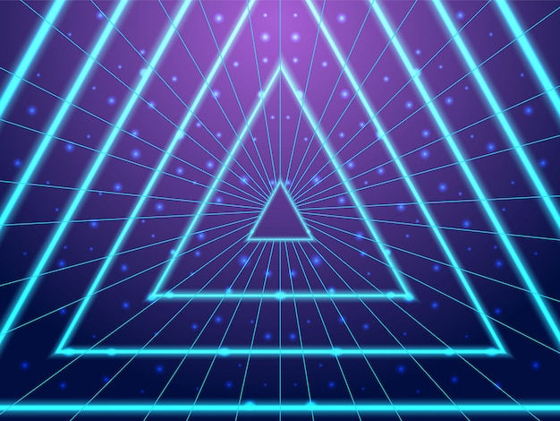 Synthwave background neon tunnel 80s style