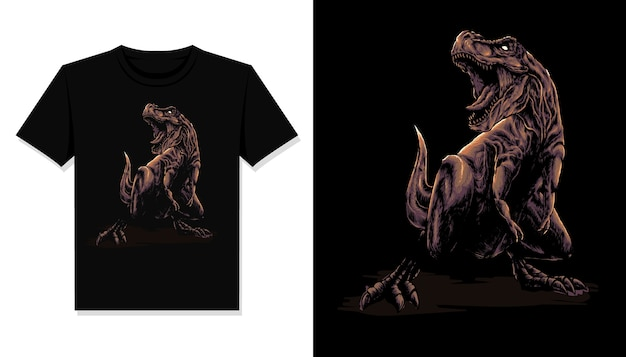 T rex ilustración camiseta