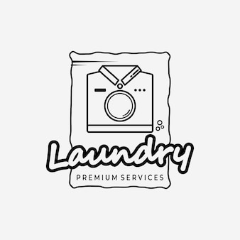 T-shirt logo vector diseño ilustración arte lineal, negocio de lavandería, logotipo simple, vector de lavandería