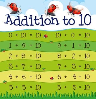 Una tabla de adición a 10