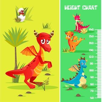 Tabla de altura en criaturas prehistóricas dinosaurio, estilo de dibujos animados.
