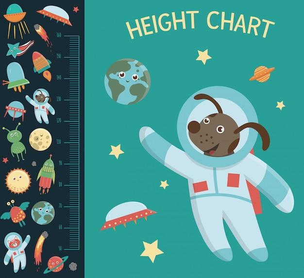 Tabla de altura del espacio. cuadro con elementos cósmicos para niños. escala de medición con ovnis, planetas, estrellas, astronautas, cometas, cohetes, asteroides.