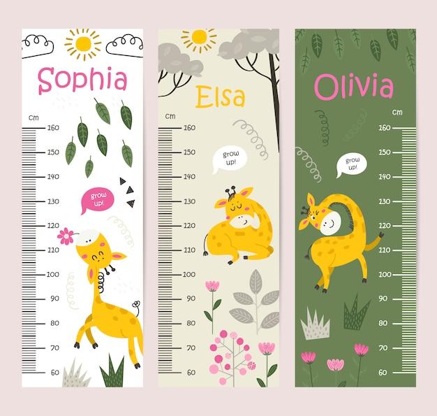 Tabla de altura para niños con jirafas