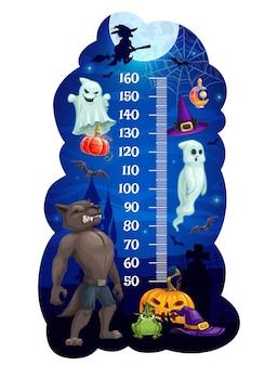 Tabla de altura para niños con monstruos de halloween