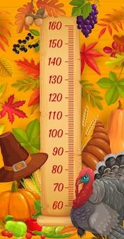 Tabla de altura para niños, pavo de acción de gracias y cosecha