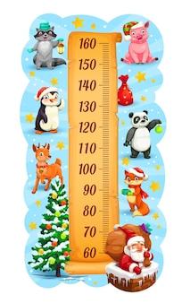 Tabla de altura para niños de vacaciones de navidad y año nuevo