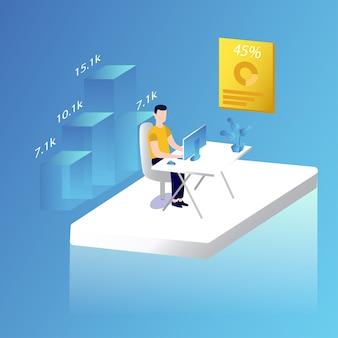 Tabla analítica estadística del trabajador del negocio