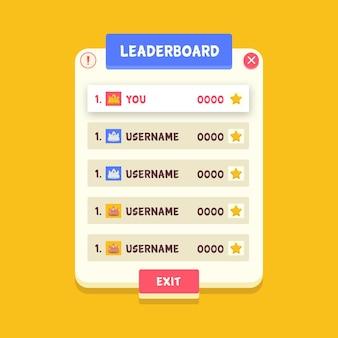 Tabla de clasificación de dibujos animados sobre fondo amarillo