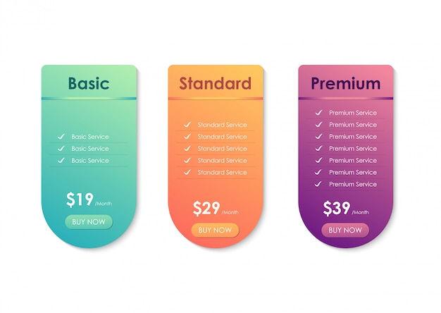 Tabla de comparación de precios, plantilla de tabla de precios para sitios web, aplicaciones y negocios