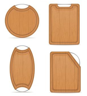 Tabla de cortar de madera con mango metálico ilustración vectorial