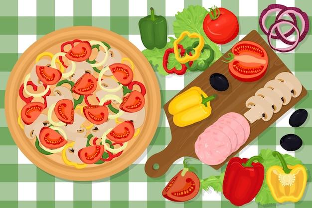 Tabla de cortar con verduras. pizza con tomates, pepperoni, pimientos, salami, champiñones, aceitunas, cebollas. deliciosa cocina italiana