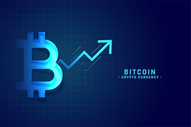 Tabla de crecimiento de bitcoin con diseño de flecha hacia arriba