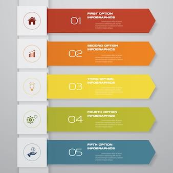 Tabla de flecha del elemento de infografía de 5 pasos.