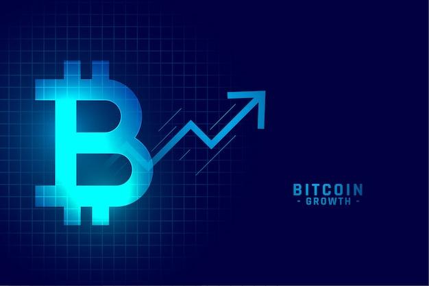 Tabla de gráfico de crecimiento de bitcoin en estilo de tecnología azul