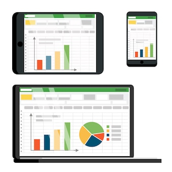 Tabla de hoja de cálculo en tableta, conjunto de pantalla de teléfono inteligente