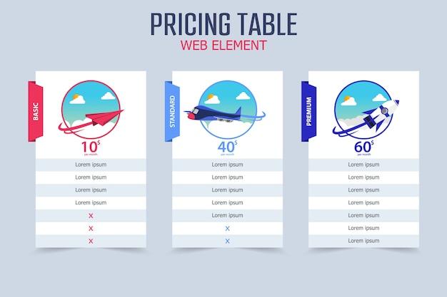 Tabla de precios 3 diseño de plantilla de vector de avión diferente