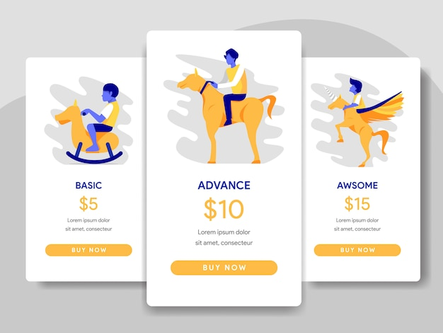 Tabla de precios comparación concepto de ilustración