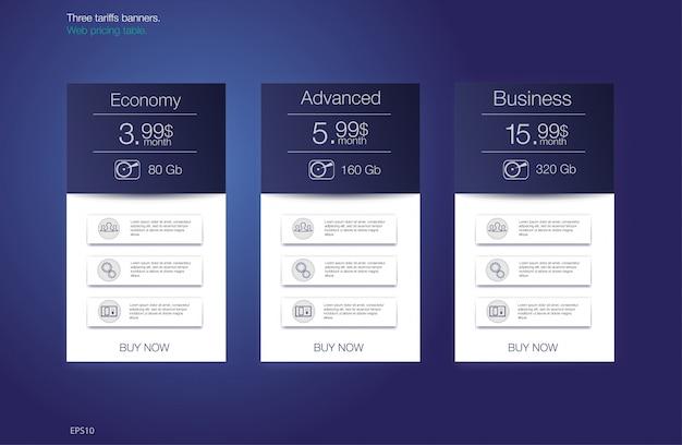 Tabla de precios para hosting, para las tarifas y listas de precios. elementos web