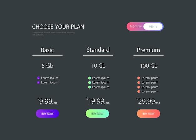 Tabla de precios lista de precios página web
