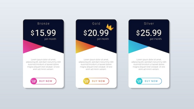 Tabla de precios moderna y sencilla de diseño colorido, para aplicaciones web y móviles.