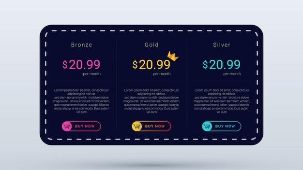 Tabla de precios oscura con puntadas y motivos de puntos, plantilla de plan de precios moderna y simple.
