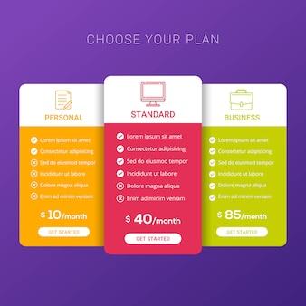 Tabla de precios para sitios web y aplicaciones.